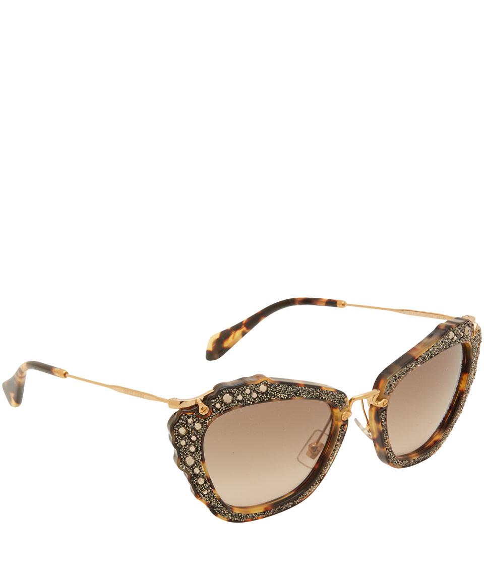 Miu Miu Brown Angular Crystal Cat-eye Sunglasses