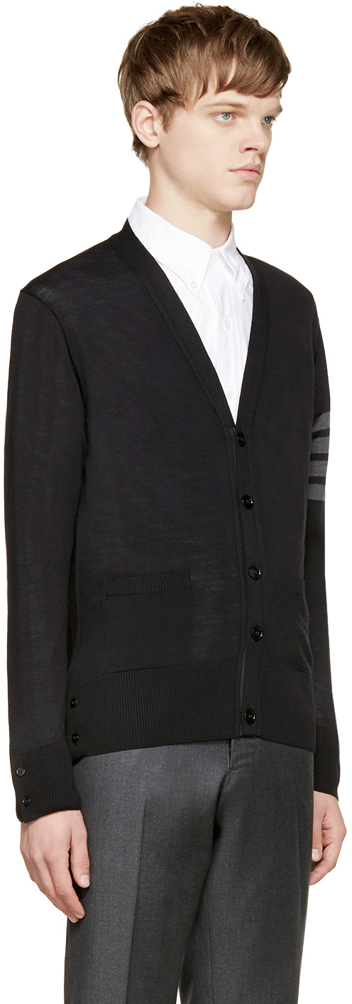 Thom browne Black Merino Wool Cardigan in Black for Men | Lyst