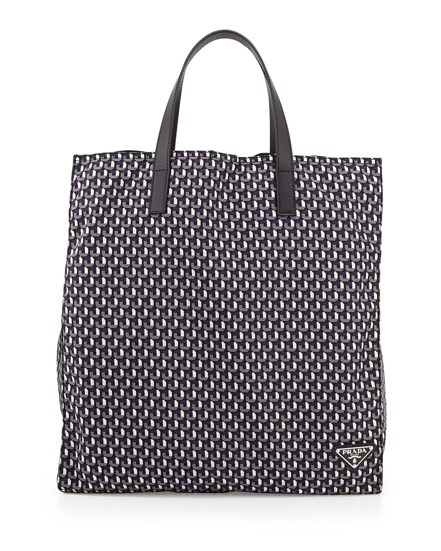 3406d4944f2ebe ... coupon lyst prada mens octagon print nylon tote bag in black for men  6d04e 63008