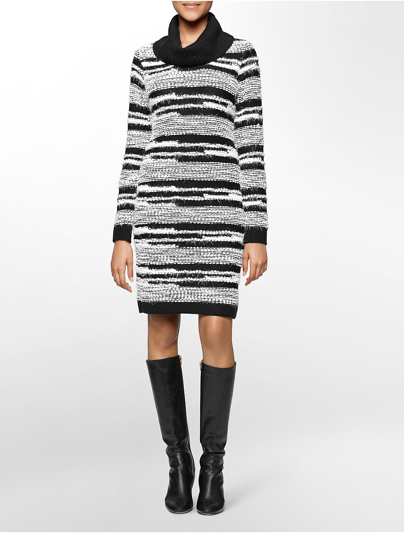 Calvin klein White Label Eyelash Stripe Cowl Neck Sweater Dress in ...