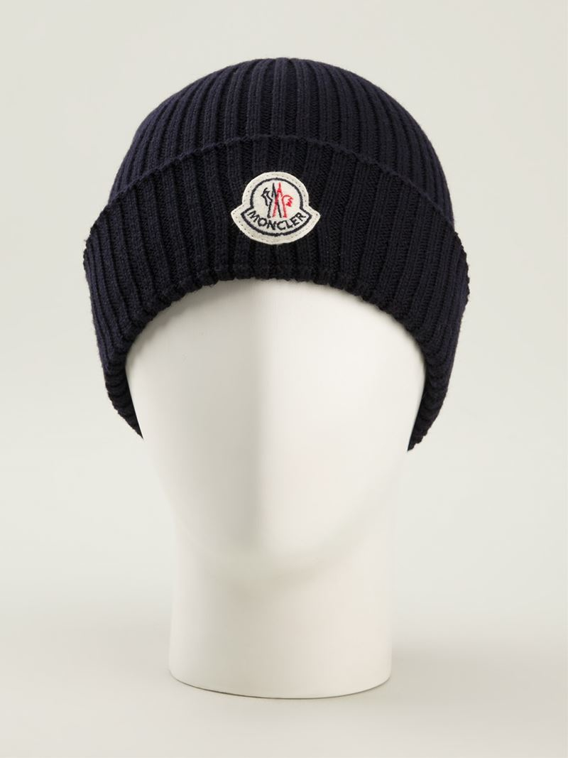 Moncler Ribbed Beanie In Blue For Men Lyst