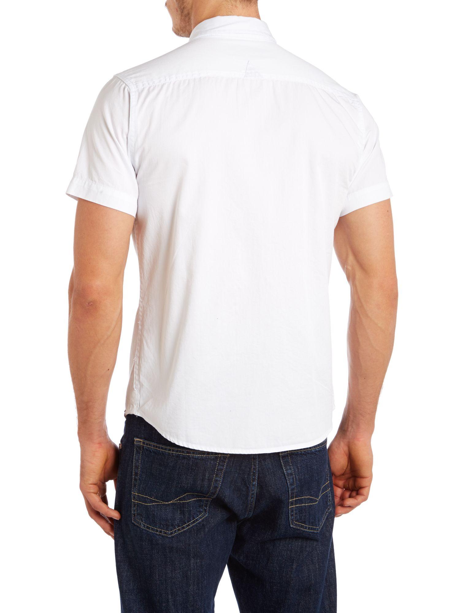 Bellfield short sleeve two pocket shirt in white for men for Mens two pocket short sleeve shirts