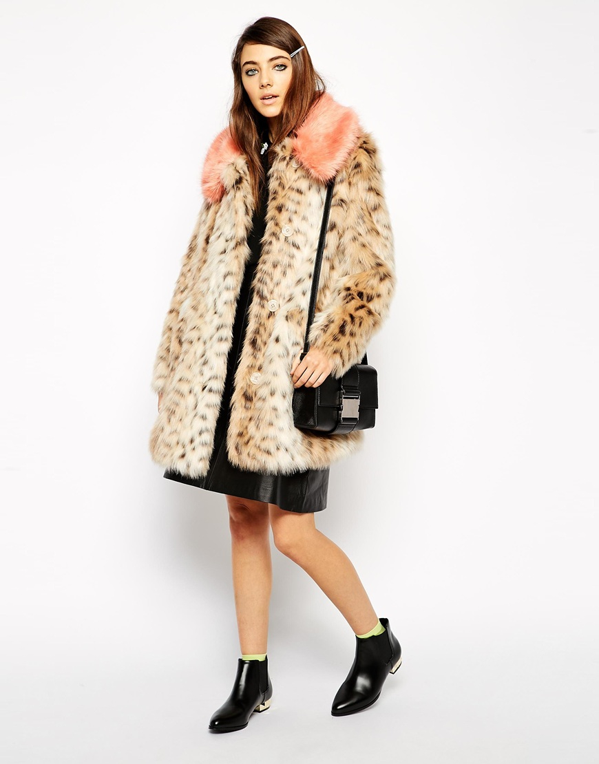 000e4feb48671 Lyst - ASOS Faux Fur Leopard Print Coat With Contrast Collar