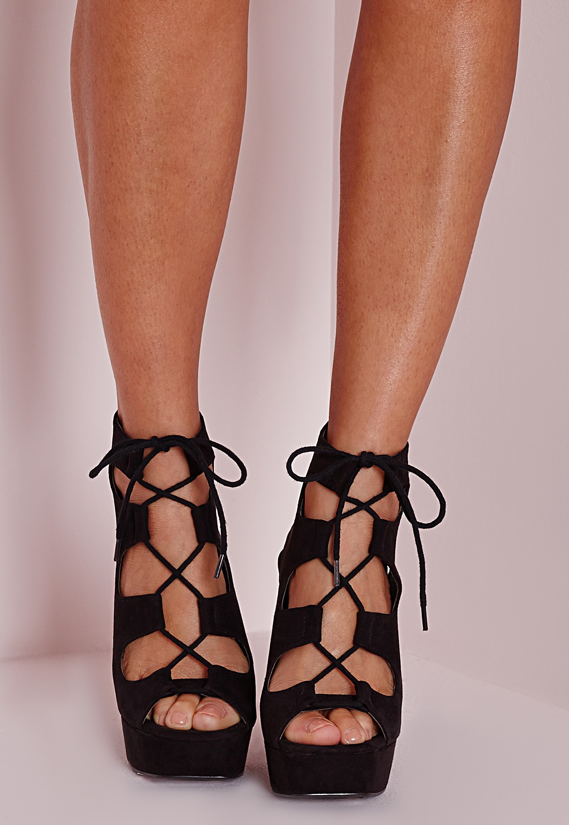 Missguided Lace Up 70's Platform Sandals Black in Black | Lyst