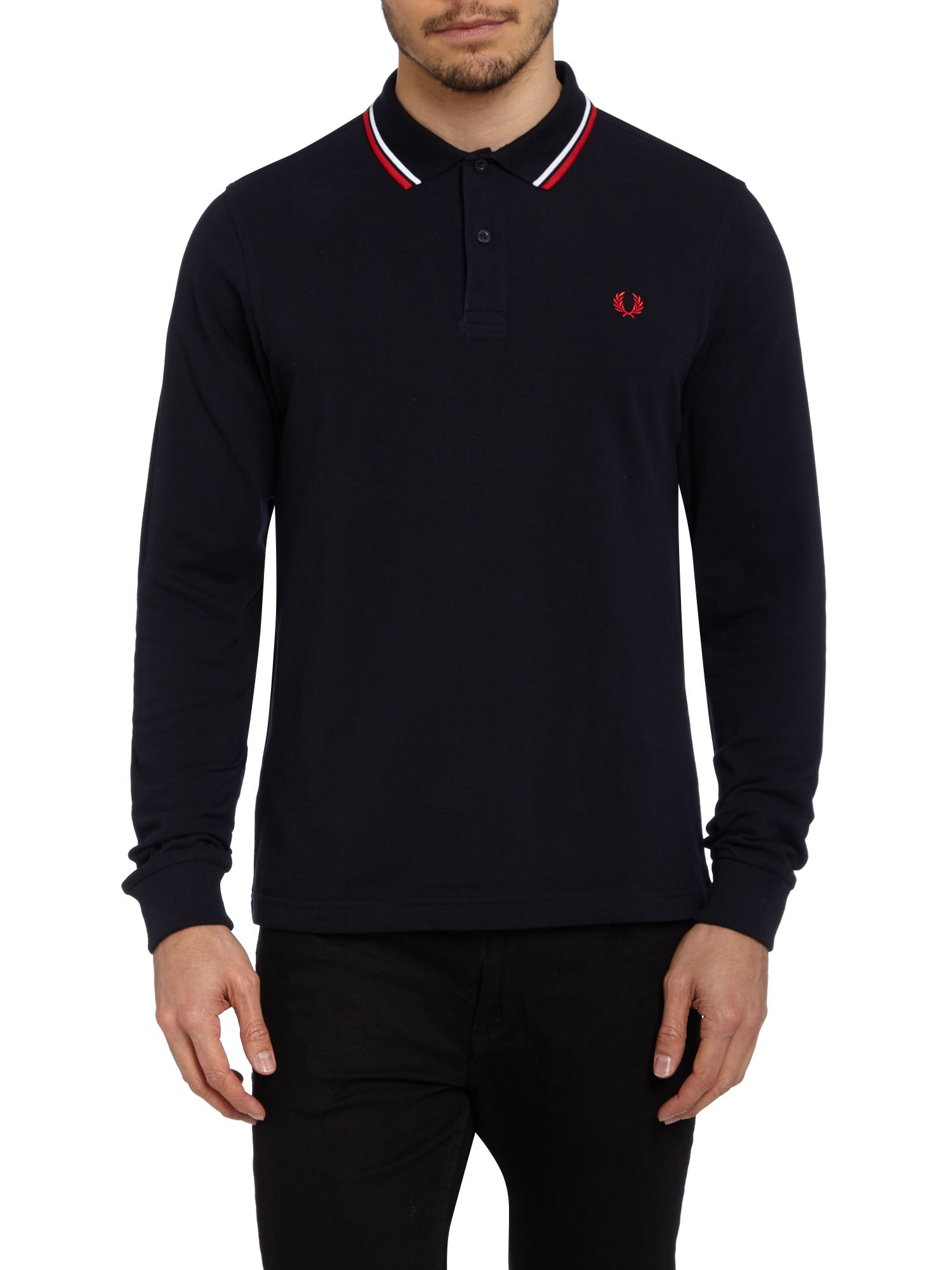 fred perry long sleeved twin tipped polo shirt in blue for