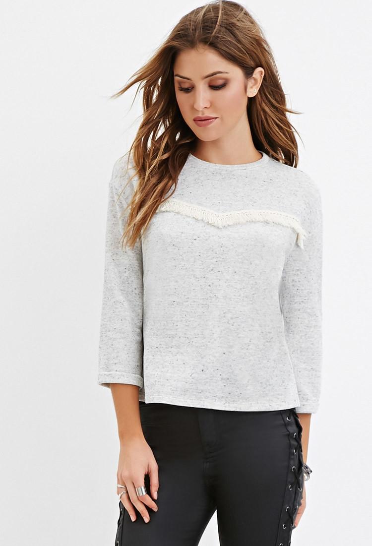 a2f99dabaf Lyst - Forever 21 Speckled Knit Fringe Sweater in Gray
