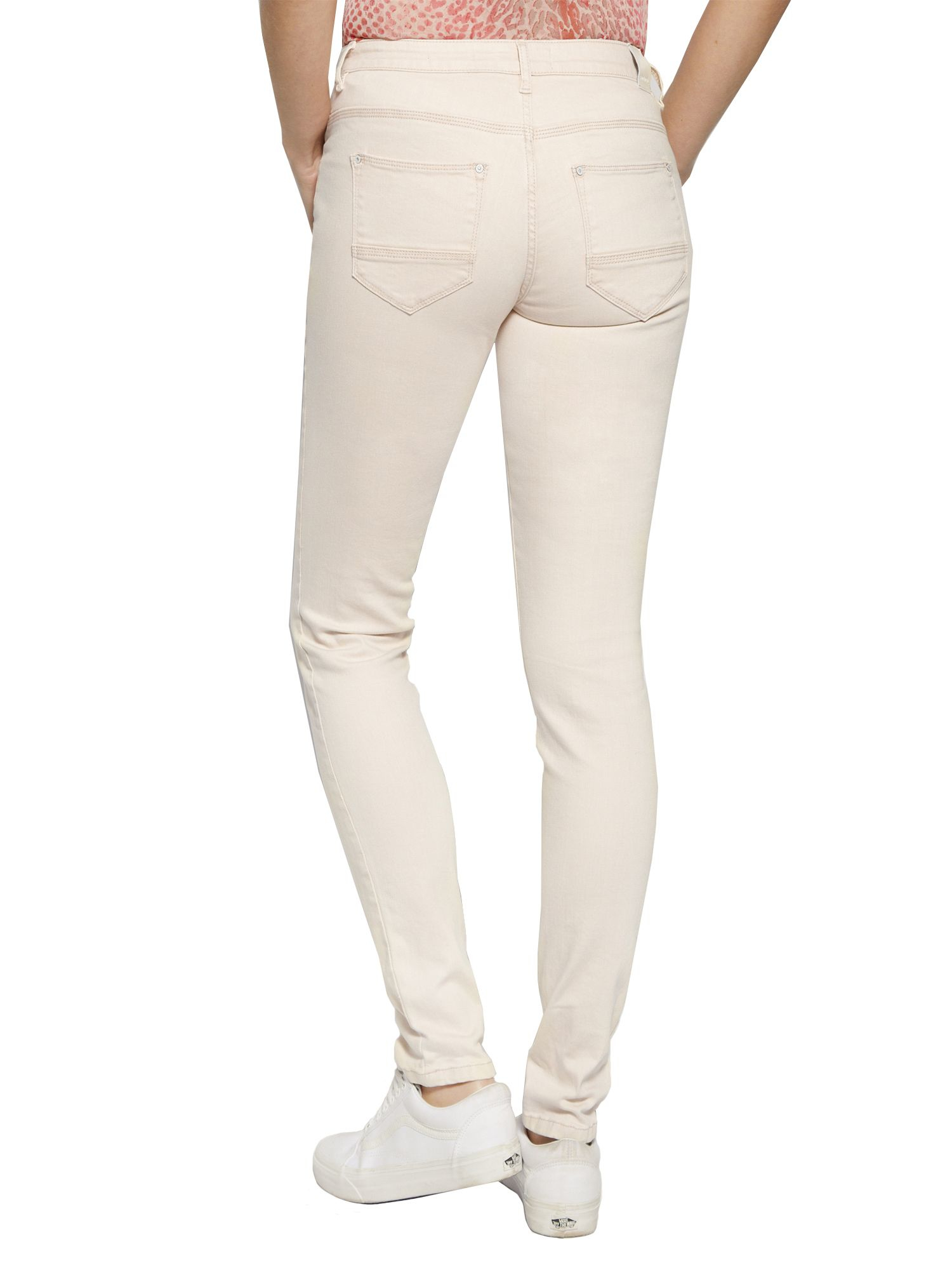 Sandwich Denim Embroidered Skinny Jeans in Cream (Natural)