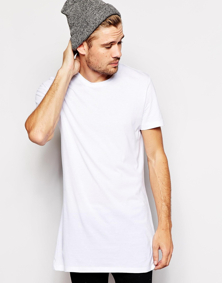 Lyst selected t shirt in longline in white for men Mens long sleeve white t shirt