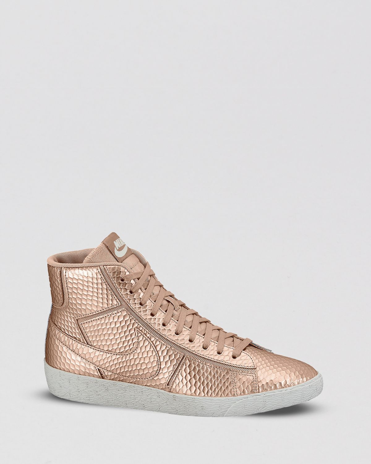 pretty nice cead8 94d32 Metallic Lace Up High Top Sneakers Womens Blazer Mid Cutout