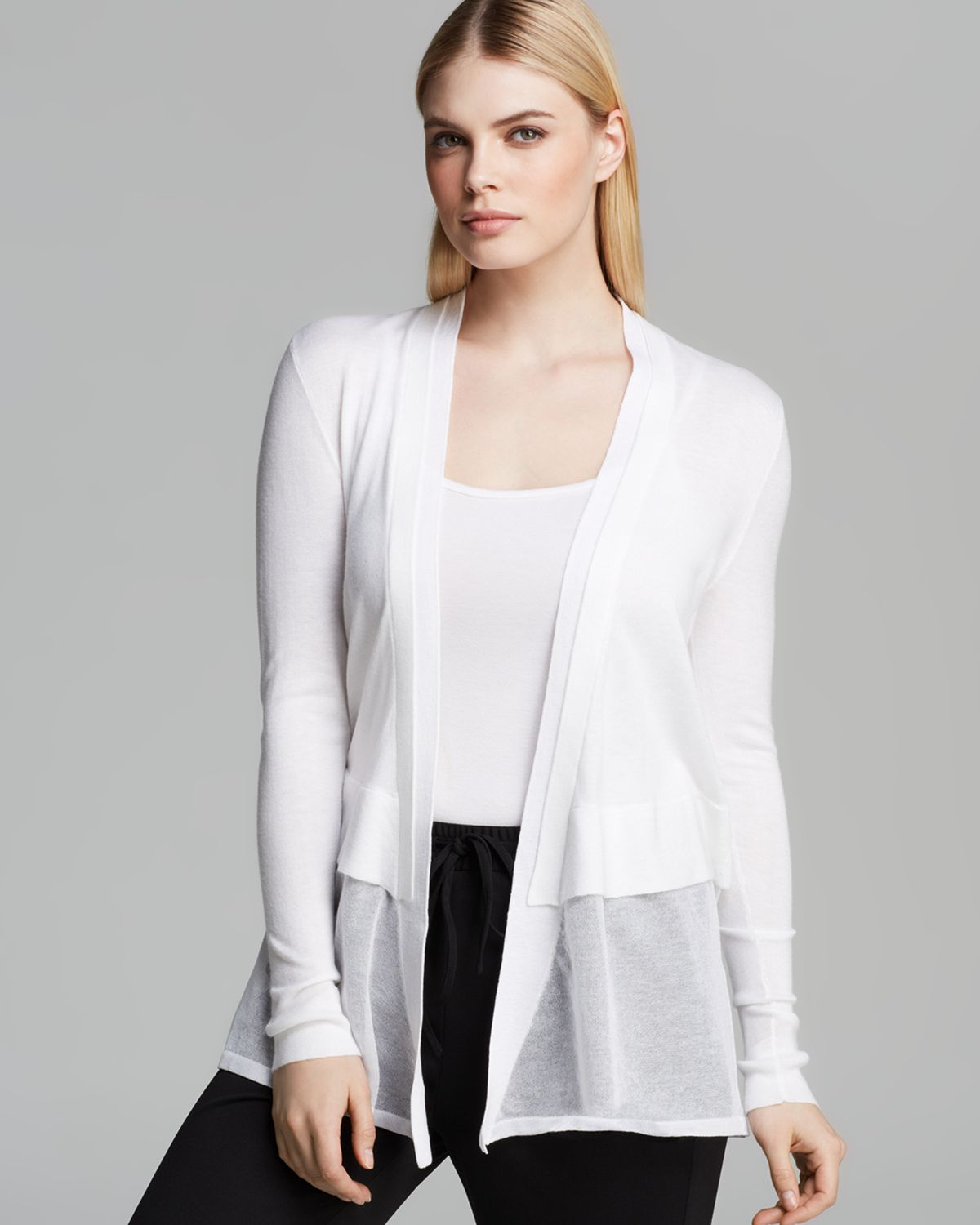 Dkny Sheer Layer Cardigan in White | Lyst
