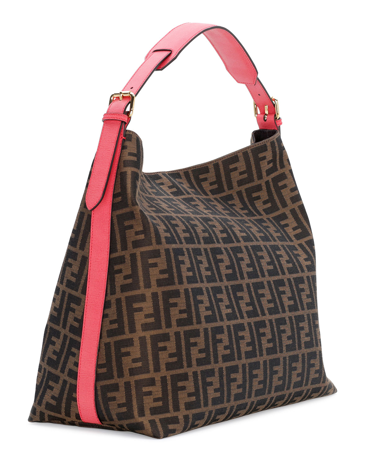 2062a208f9c Lyst - Fendi Zucca-Print Large Canvas Hobo Bag in Brown