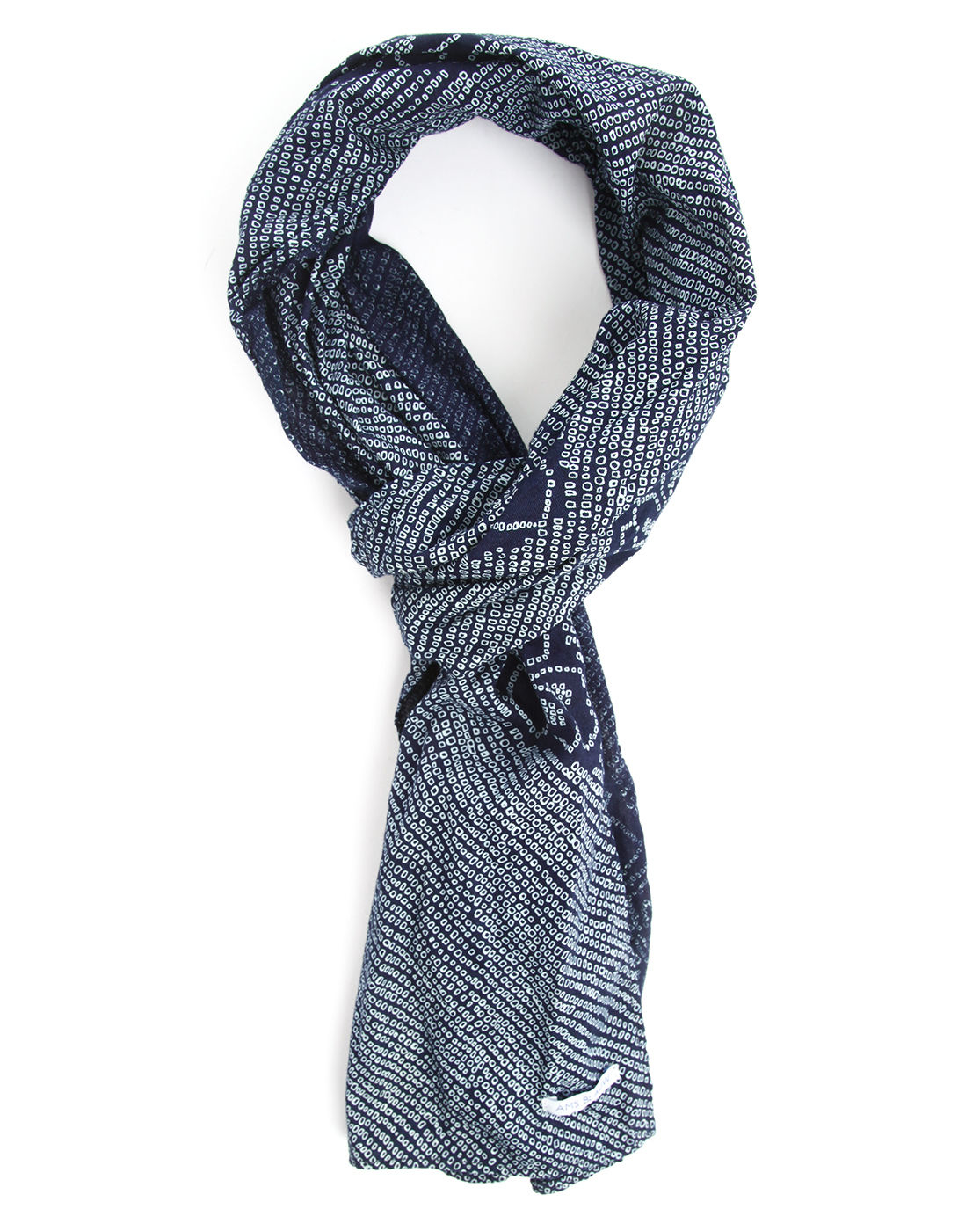 scotch soda blue and grey micro patterned wool scarf in