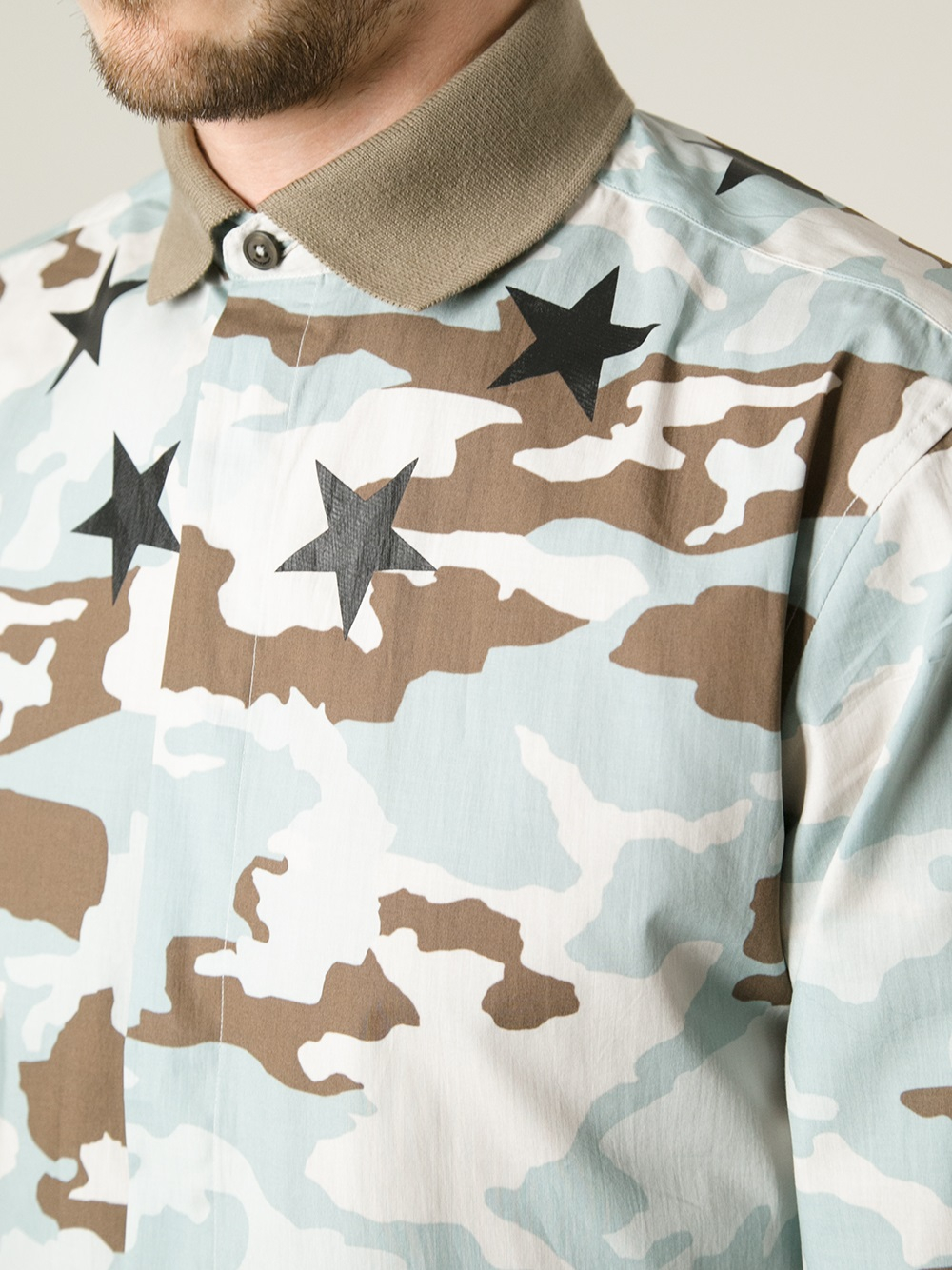 Lyst Givenchy Polo Collar Camouflage Shirt In Green For Men
