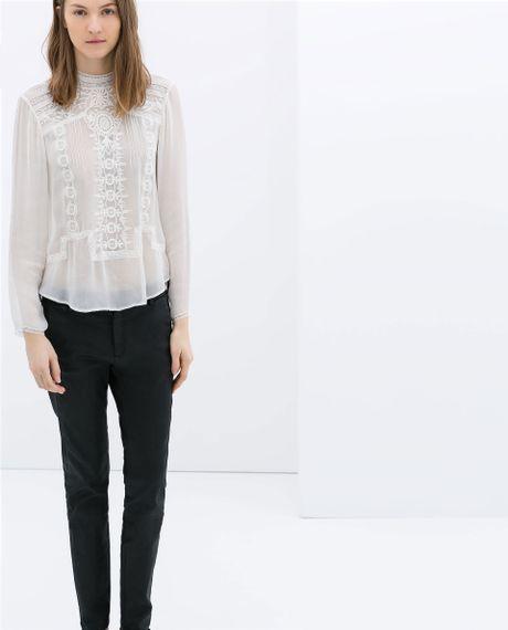 Zara Blouse With High Collar 62