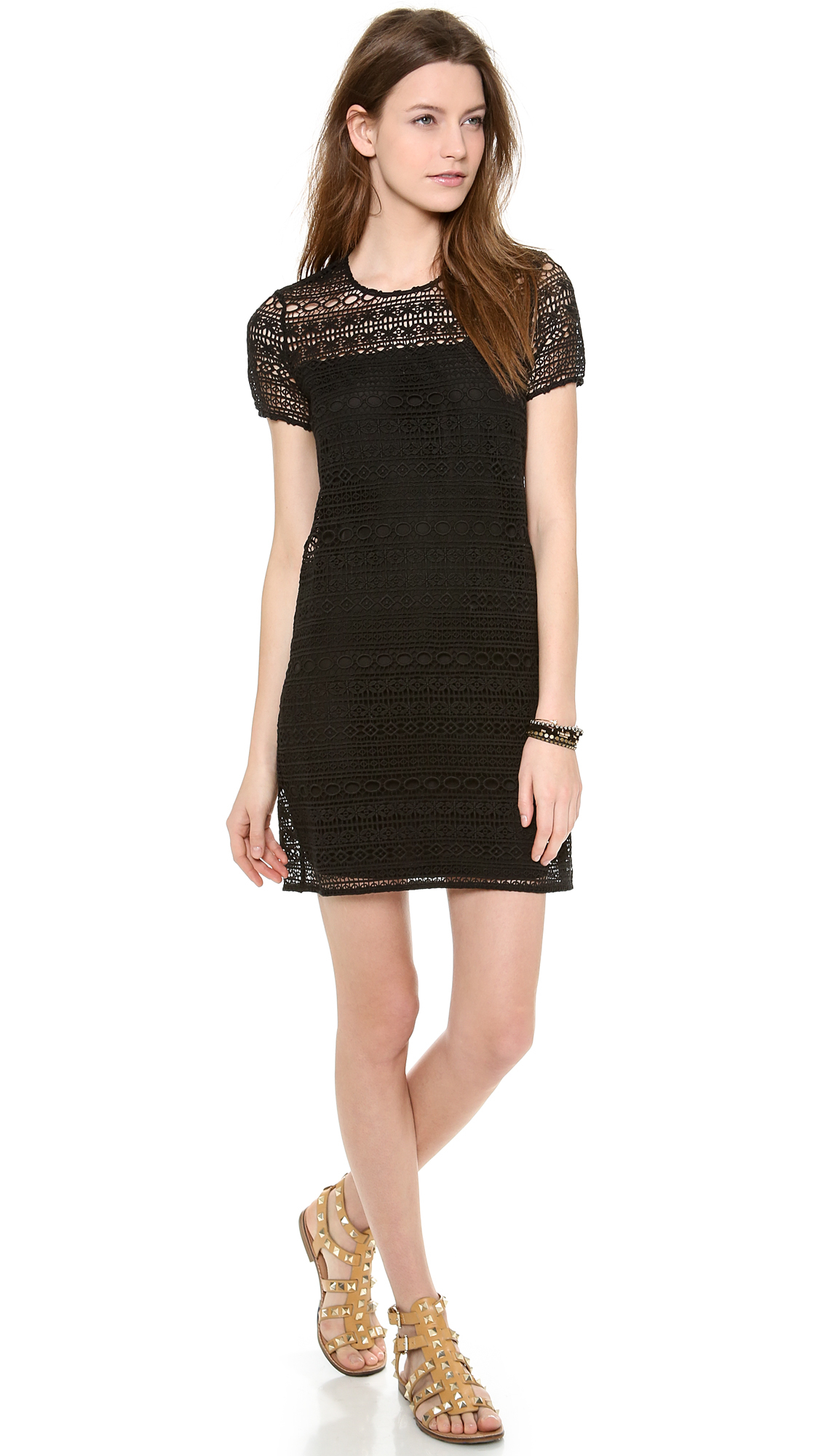 Lyst - Juicy Couture Linear Lace Guipure Dress in Black