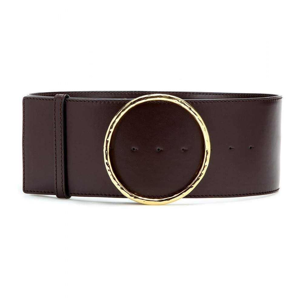 Lyst stella mccartney faux leather belt in brown for Define faux leather