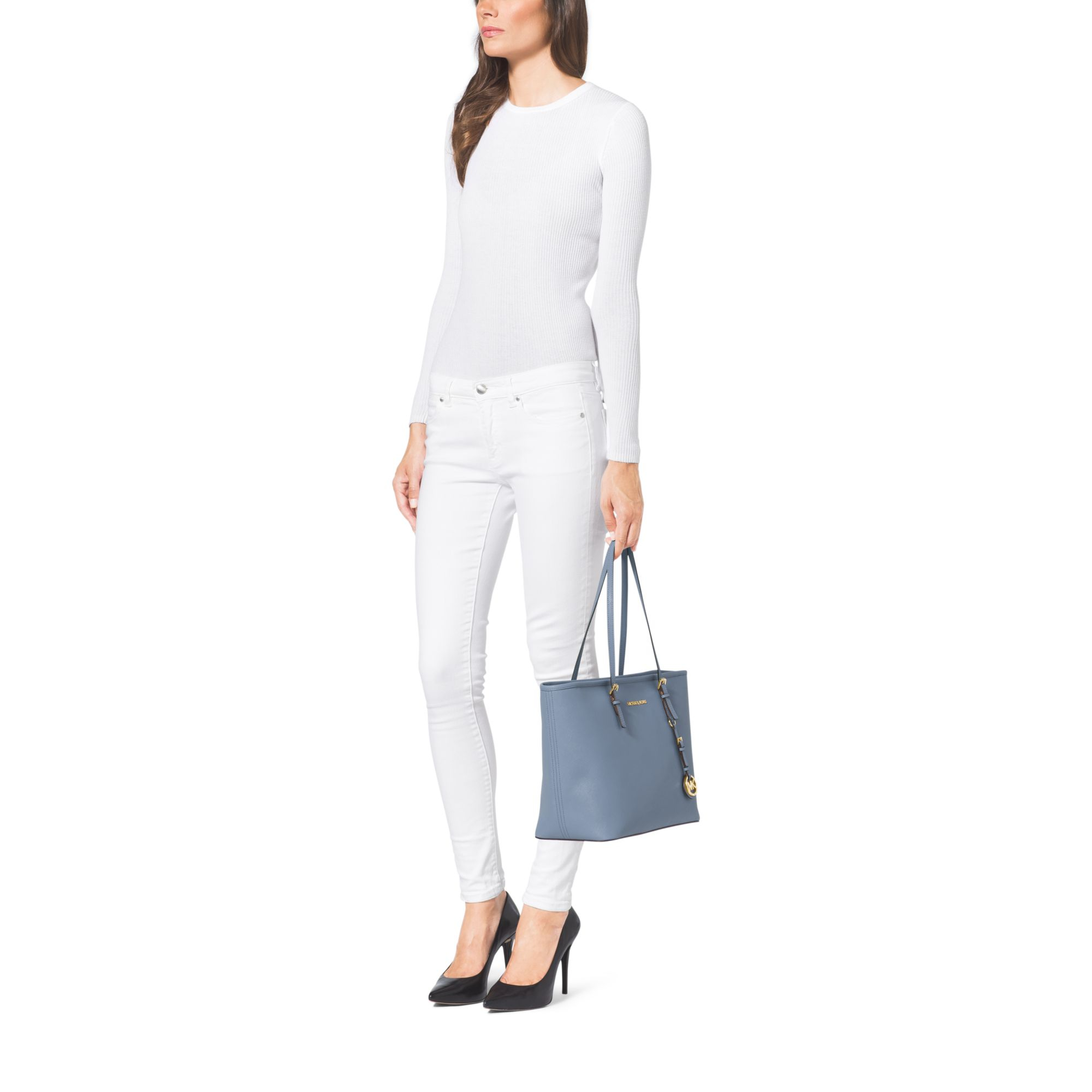 b491cb8dfe84 Michael Kors Jet Set Travel Saffiano Leather Top-zip Tote in Blue - Lyst