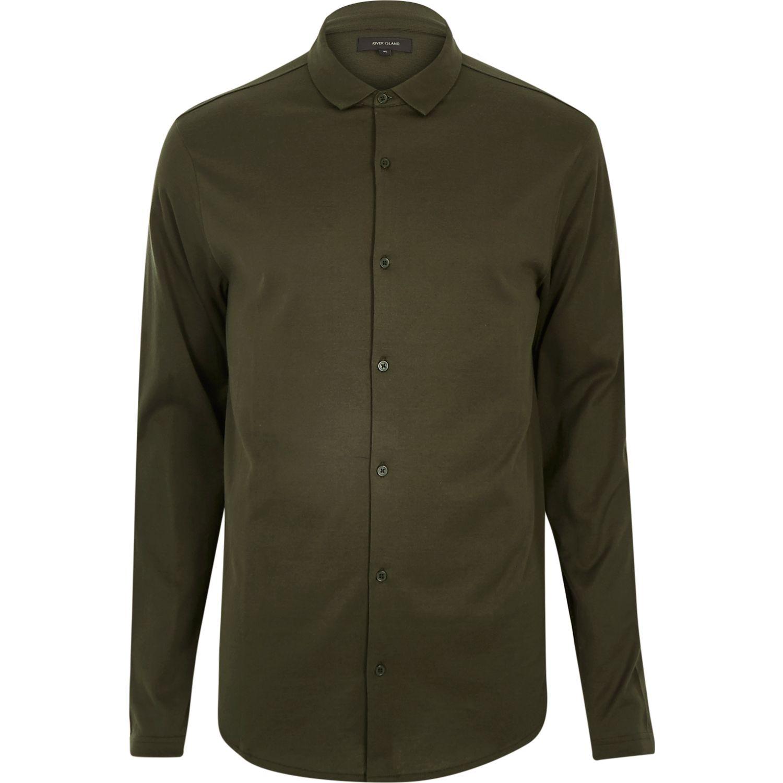 River Island Khaki Casual Button Through Jersey Shirt In