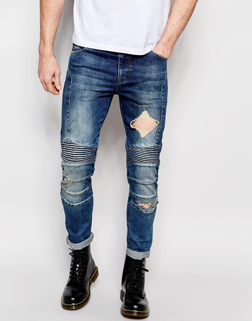 asos super skinny jeans with panels and rips in blue for. Black Bedroom Furniture Sets. Home Design Ideas