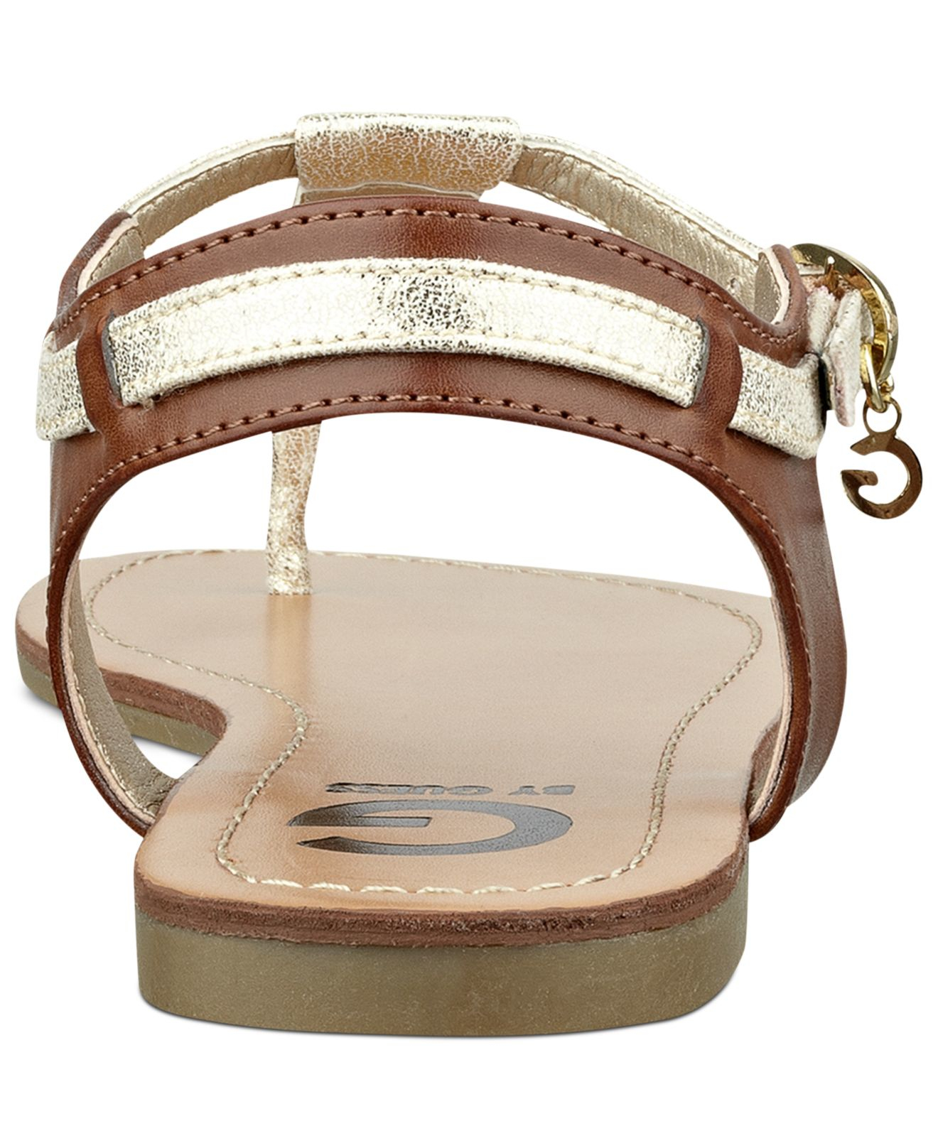 cb24a1a6f Lyst - G by Guess Women S Luzter T-Strap Flat Thong Sandals in Metallic