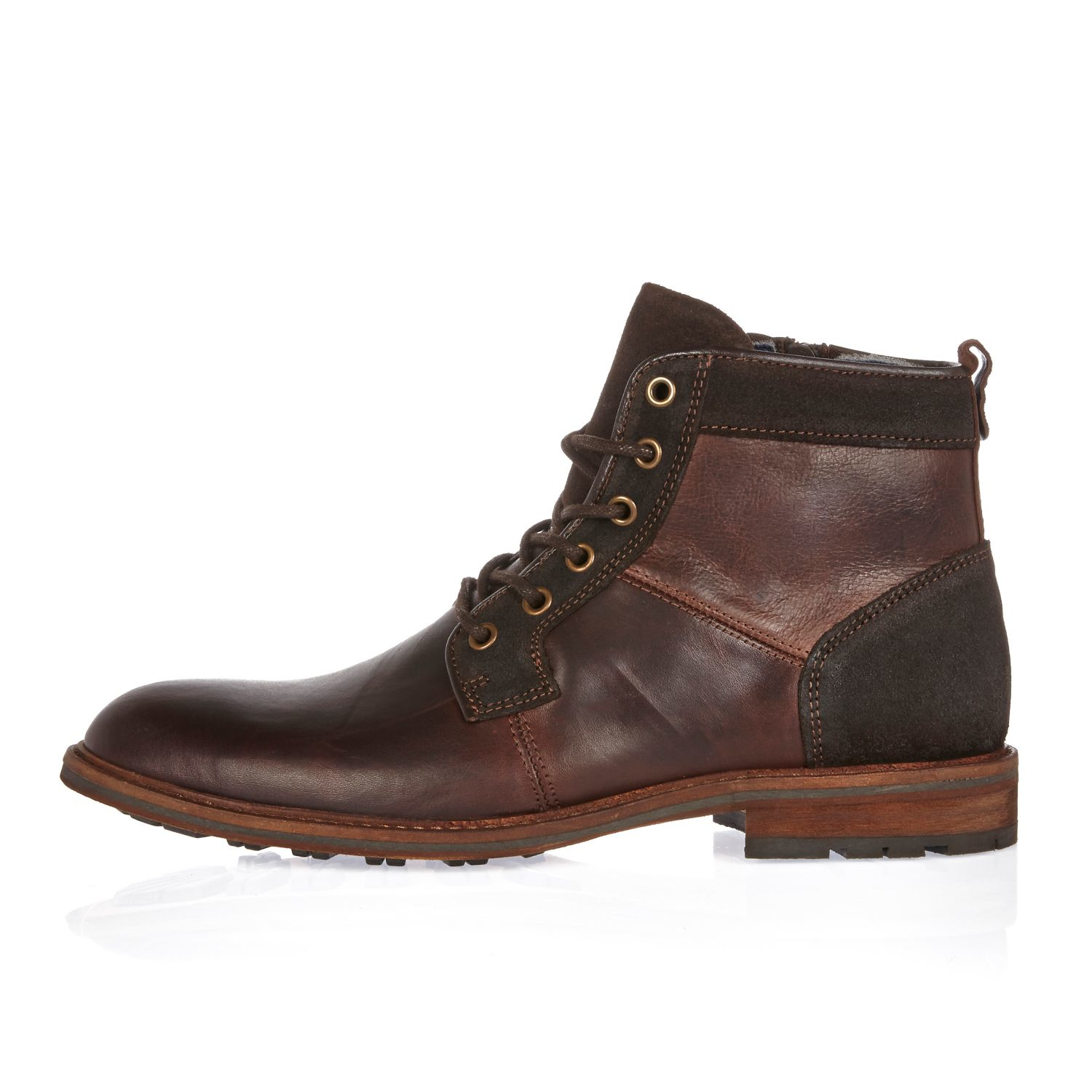 river island brown leather lace up worker boots in brown