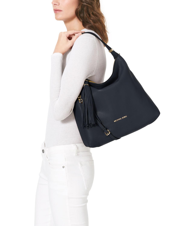 f365a66066 Lyst - Michael Kors Michael Large Weston Pebbled Shoulder Bag in Blue