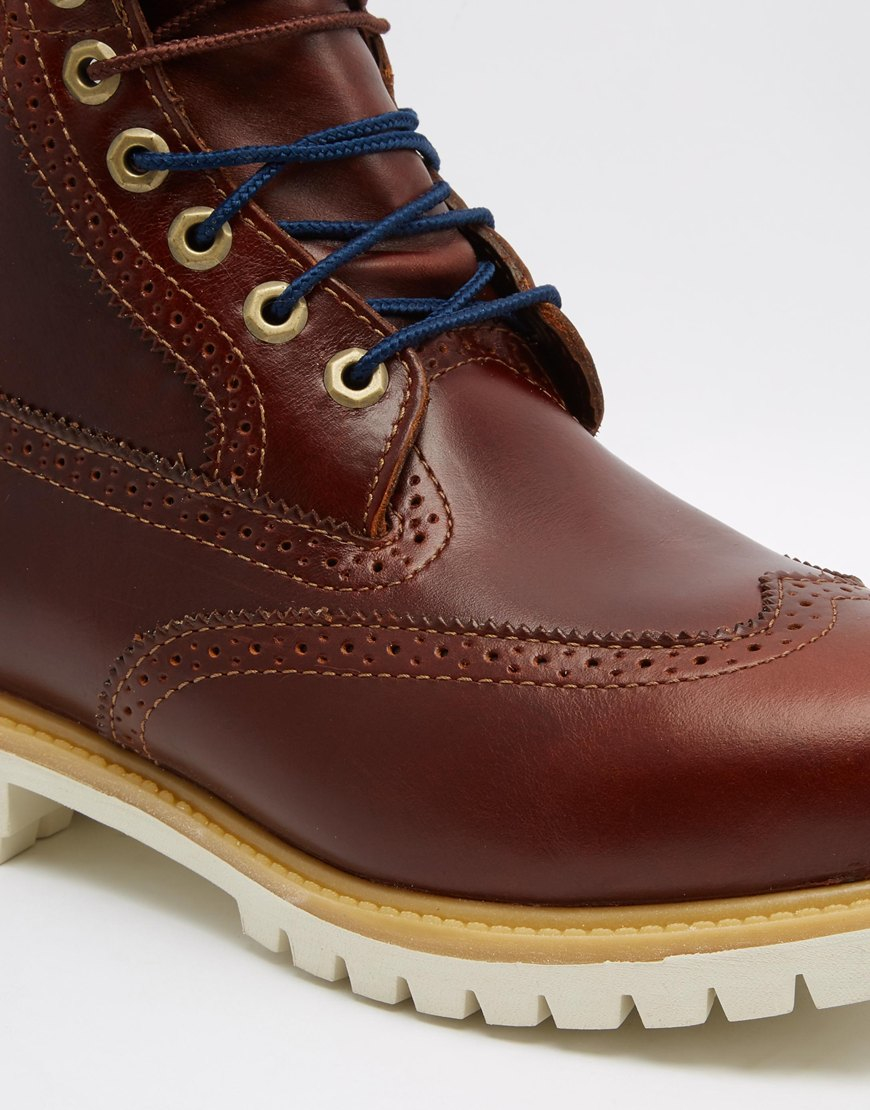 Timberland Mens Icon 6 Inch Leather Premium Brogue Boots Brown - Boots