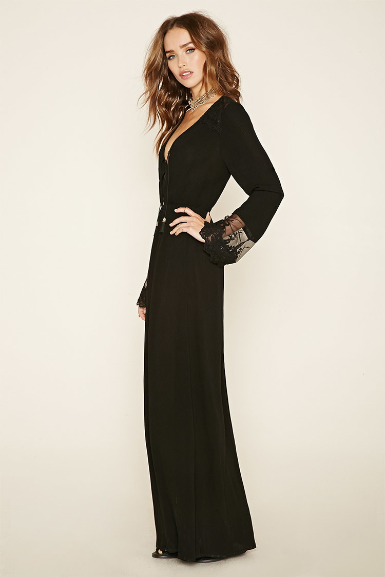 Forever 21 Floral Lace Gauze Maxi Dress in Black  Lyst