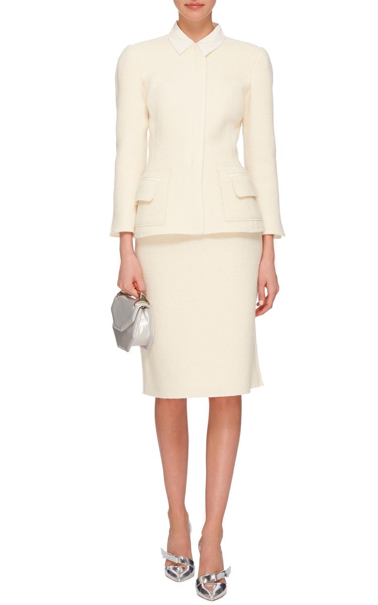 Oscar de la renta Cream Wool Pencil Skirt in White | Lyst