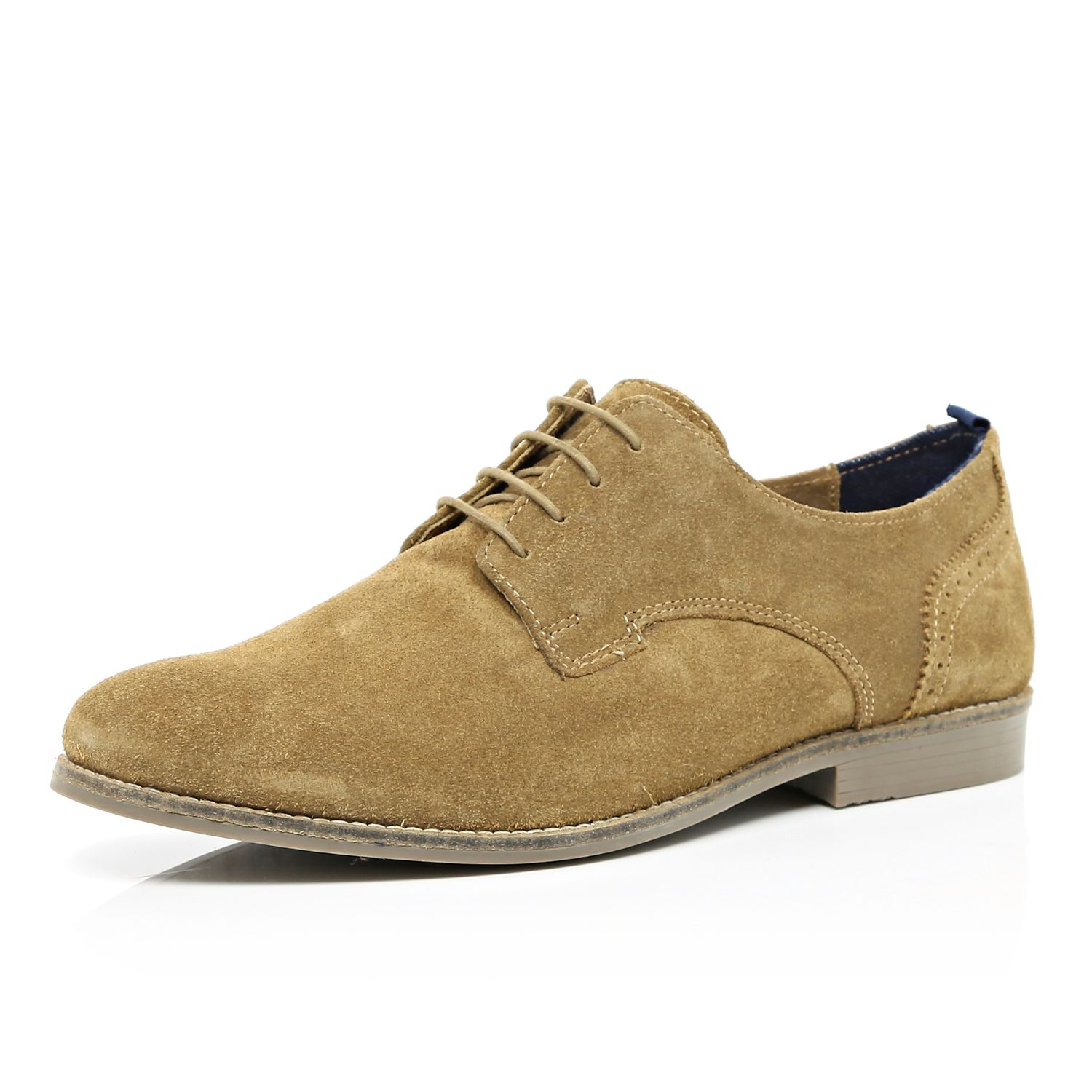 river island light brown suede lace up shoes in brown for