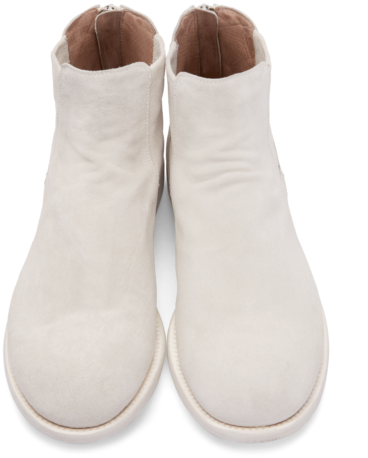 officine creative white suede chelsea boots in white for