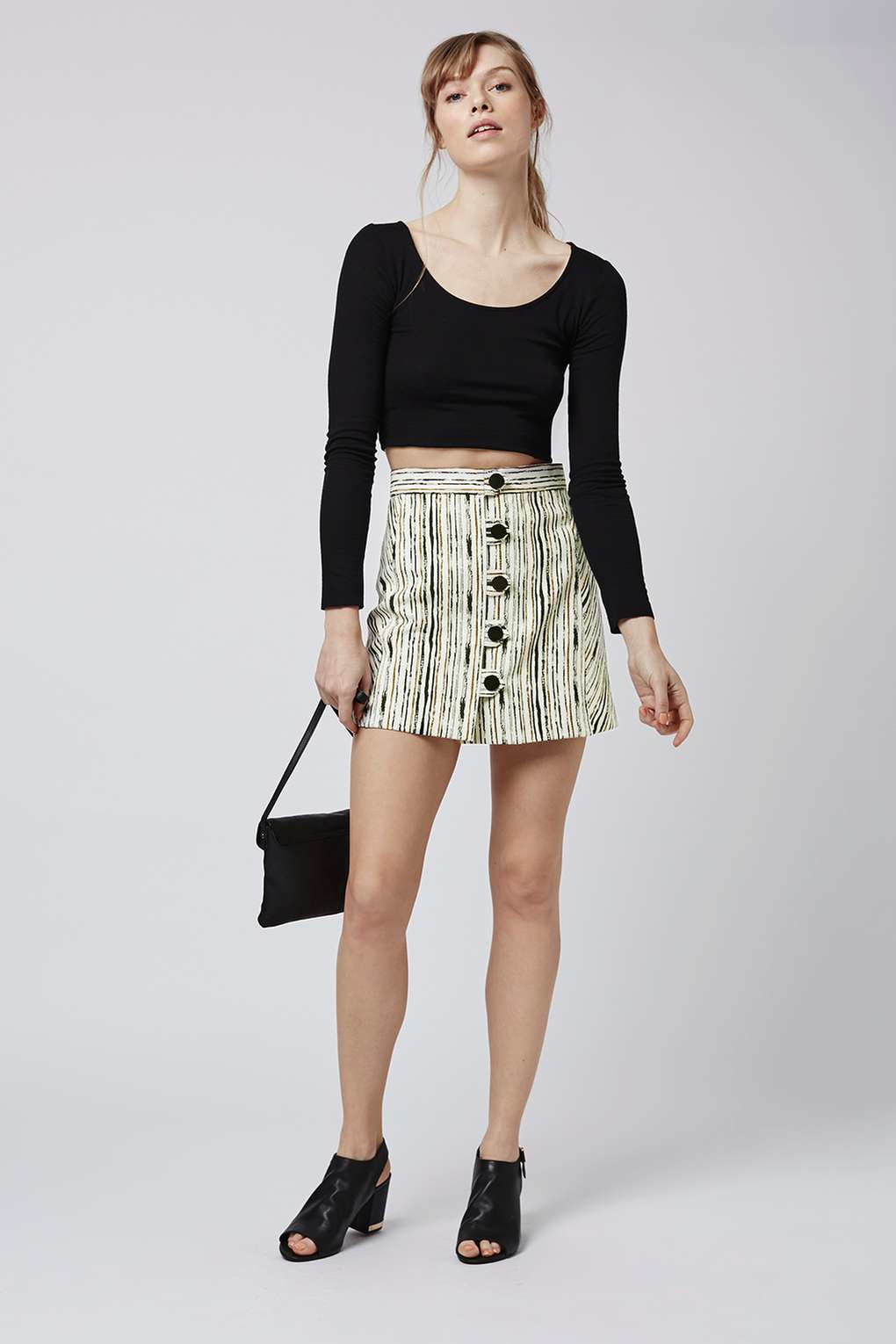 Topshop Scratch Stripe Button A-line Skirt in Natural | Lyst