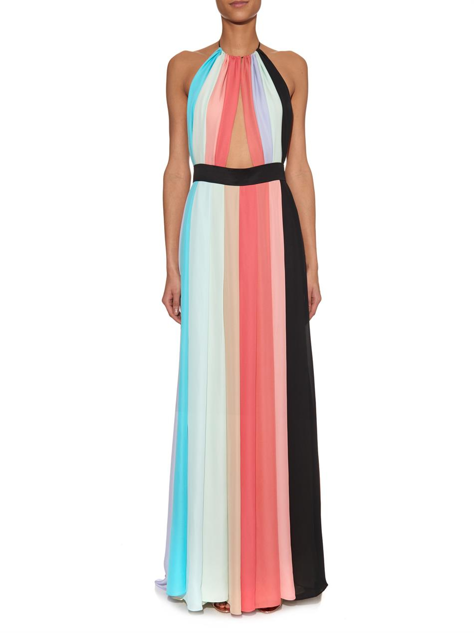 Juan Carlos Obando Silk-Georgette Striped Halterneck Gown