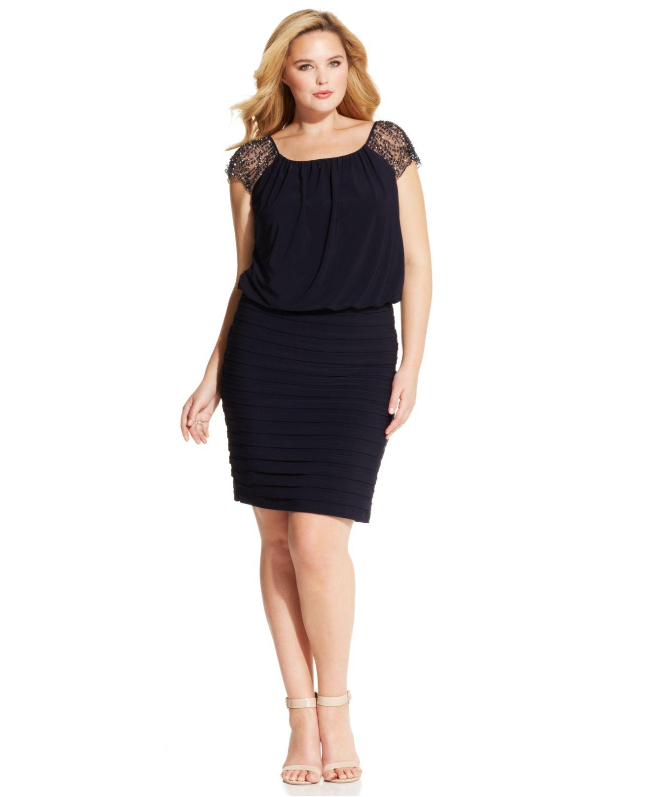 Plus Size Embellished Cap-Sleeve Blouson Dress
