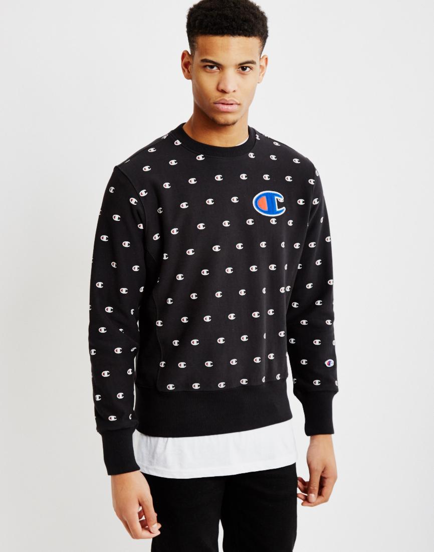 Champion Reverse Weave Crew Neck Sweatshirt Black In Blue For Men Lyst