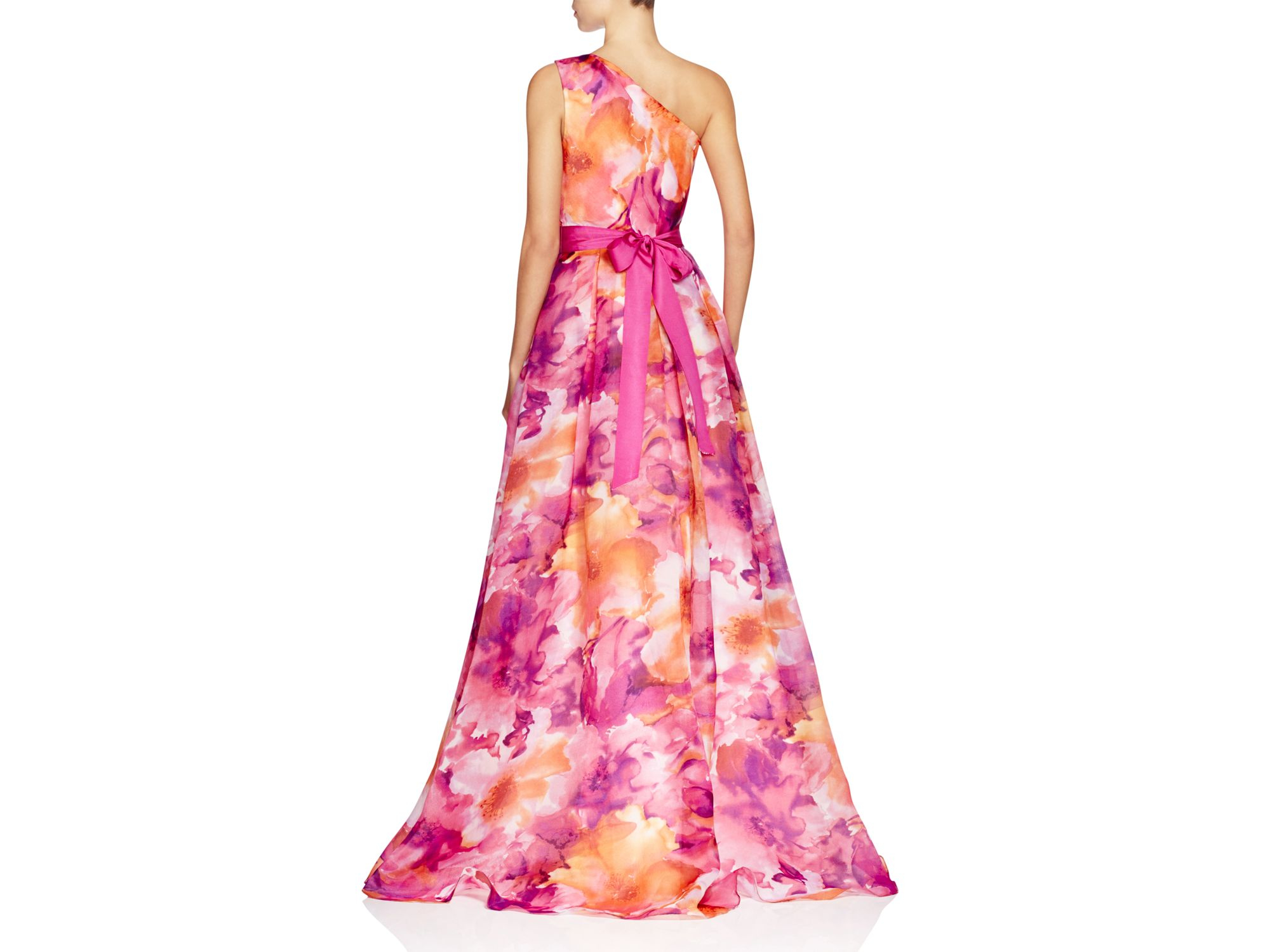 Lyst - Carmen Marc Valvo One Shoulder Floral Print Gown in Orange