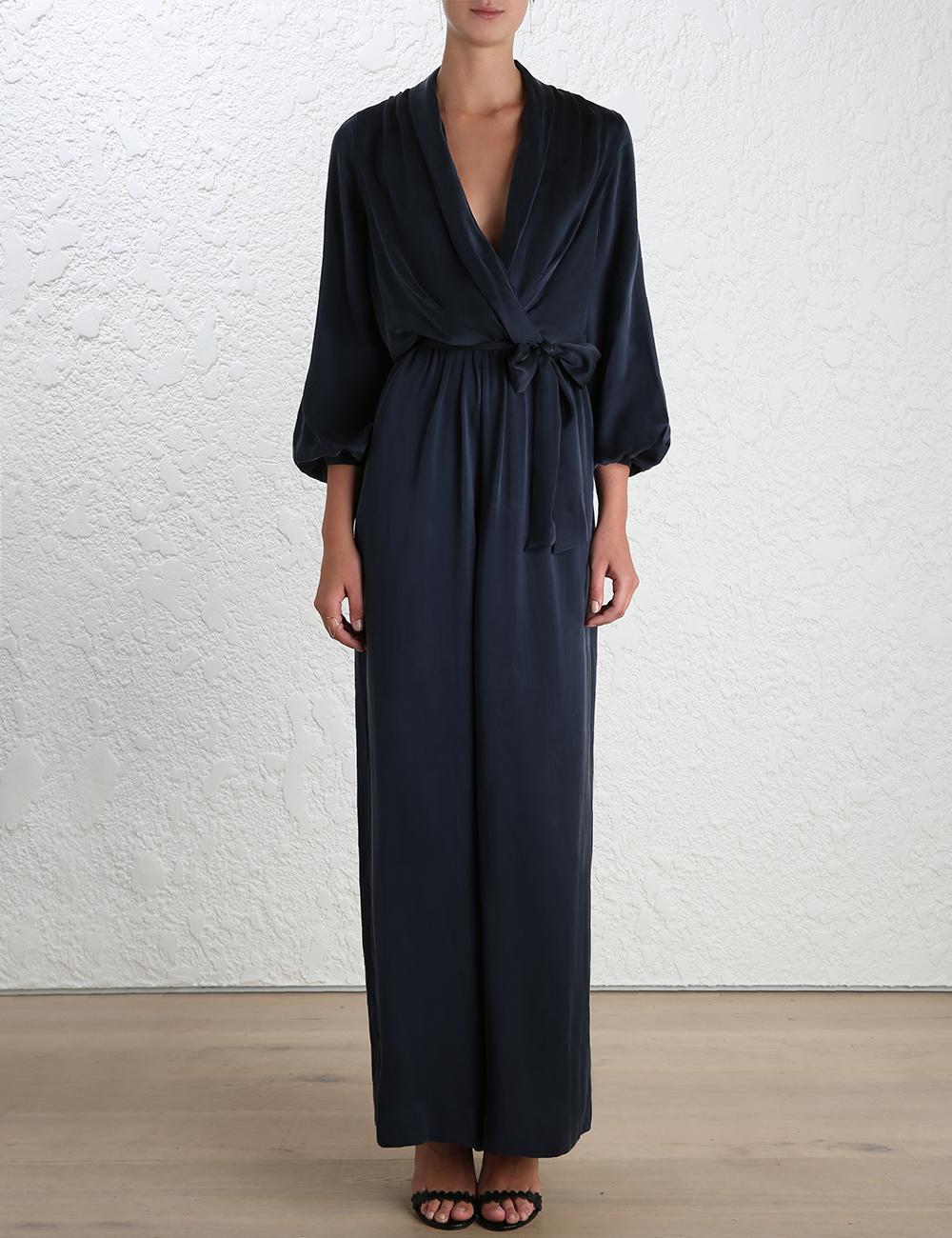 6d8560c130a Lyst - Zimmermann Sueded Silk Wrap Jumpsuit in Black