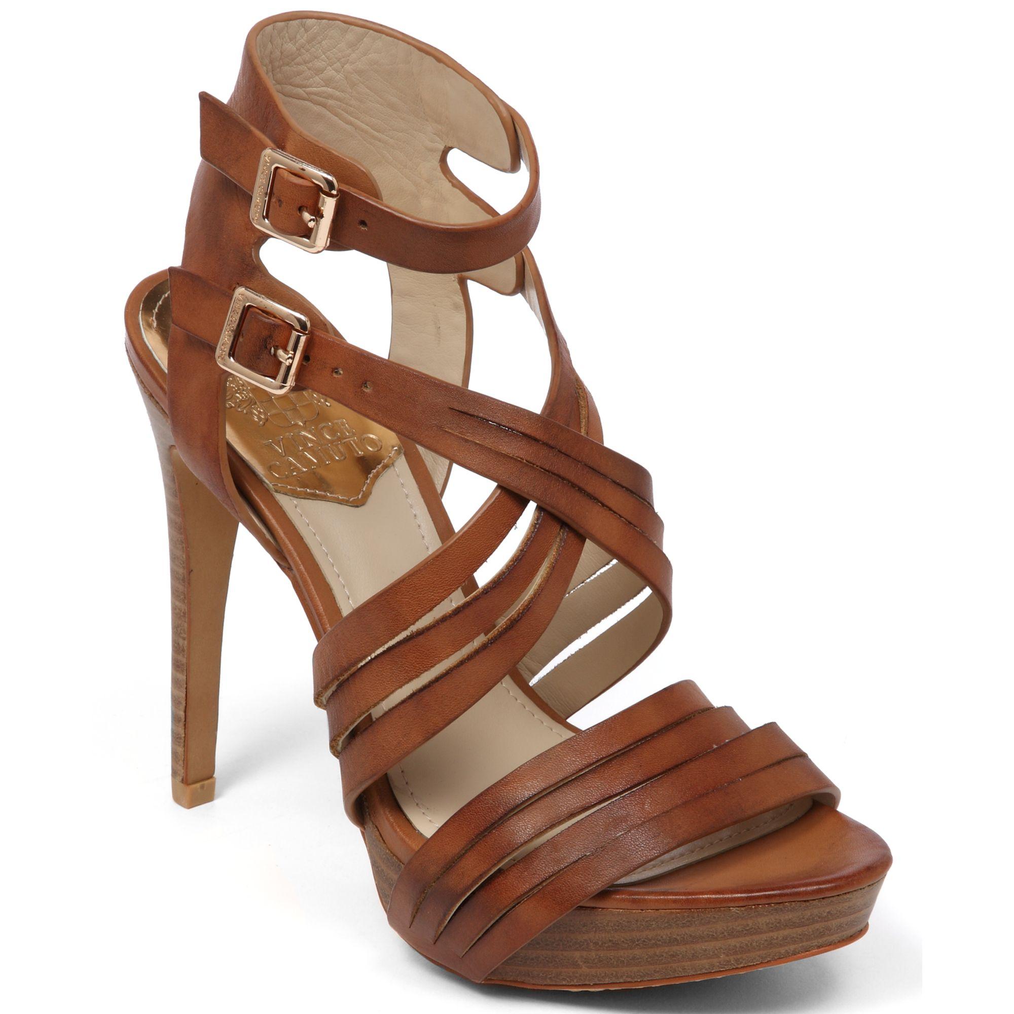 vince camuto jistil high heel platform sandals in brown lyst