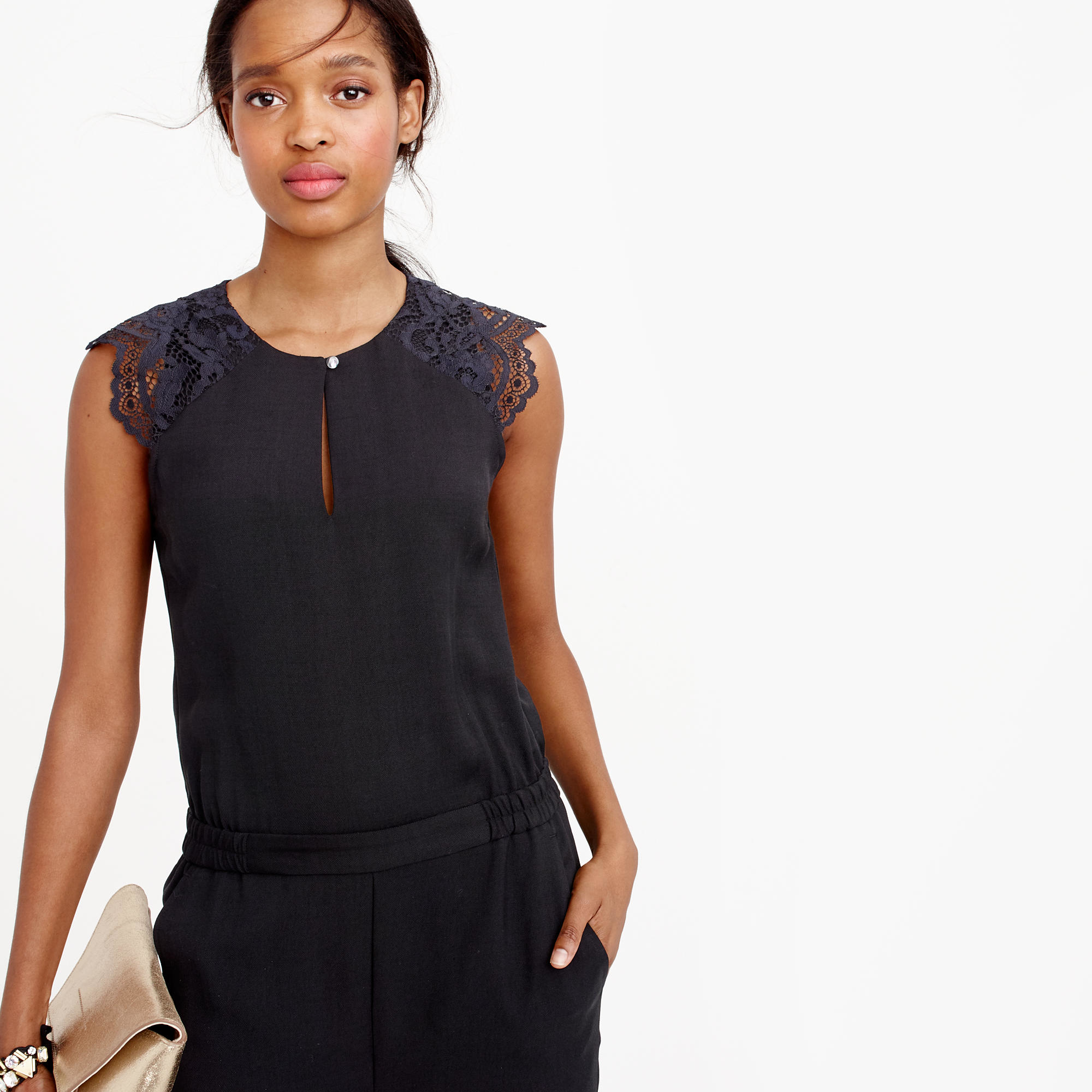 9fc311b23041c J.Crew Drapey Oxford Jumpsuit With Lace Sleeves in Black - Lyst