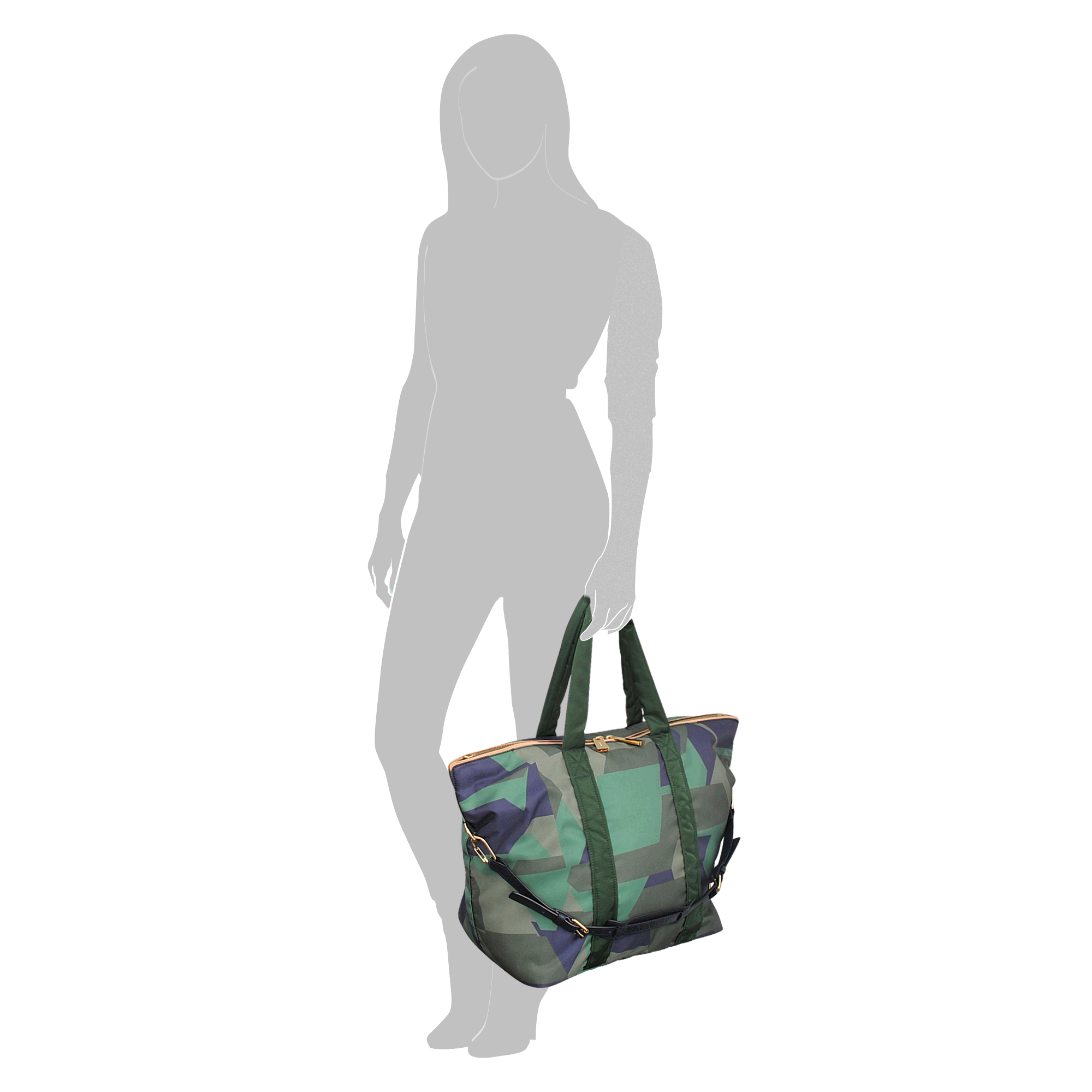 lyst vanessa bruno large zipped atlanta camouflage tote in green. Black Bedroom Furniture Sets. Home Design Ideas