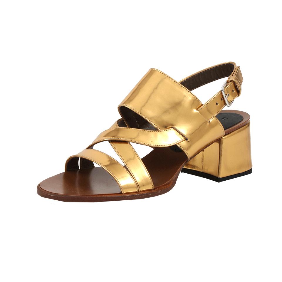Marni Metallic Chunky Heel Sandal in Metallic | Lyst