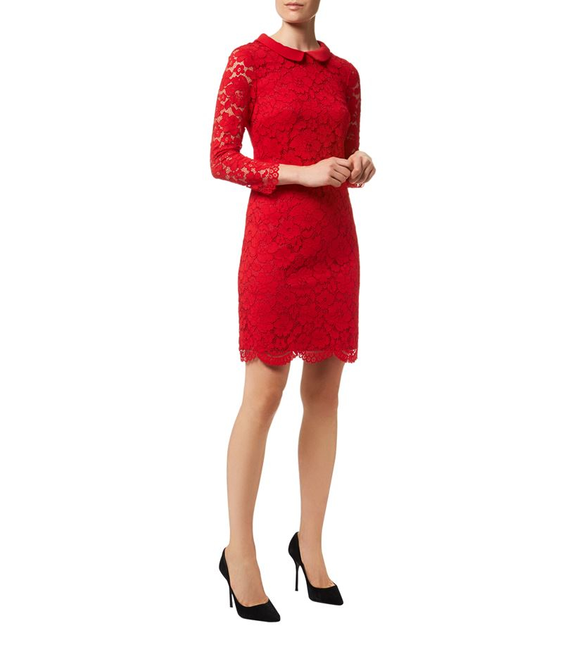 484ad528a7 Ted Baker Ameera Scallop Hem Lace Dress in Red - Lyst