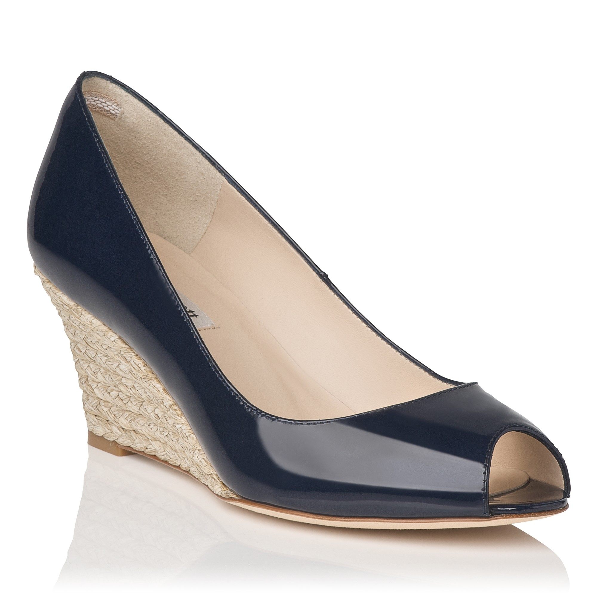 2c772a968088 L.K.Bennett Zelita Patent Leather Peep Toe Wedges in Blue - Lyst
