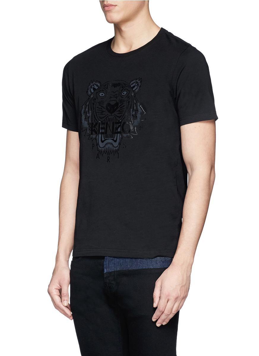 lyst kenzo tiger print t shirt in black for men. Black Bedroom Furniture Sets. Home Design Ideas