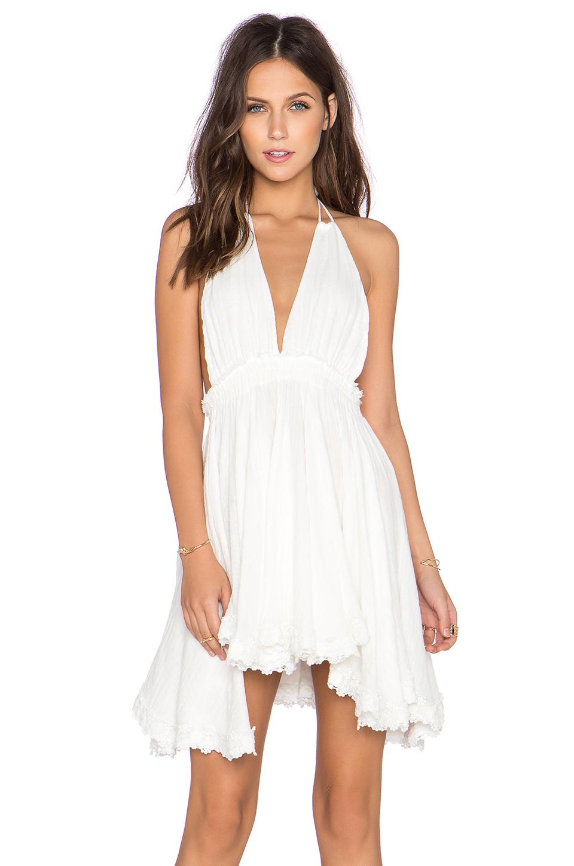 Loveshackfancy String Halter Mini Dress In White Lyst