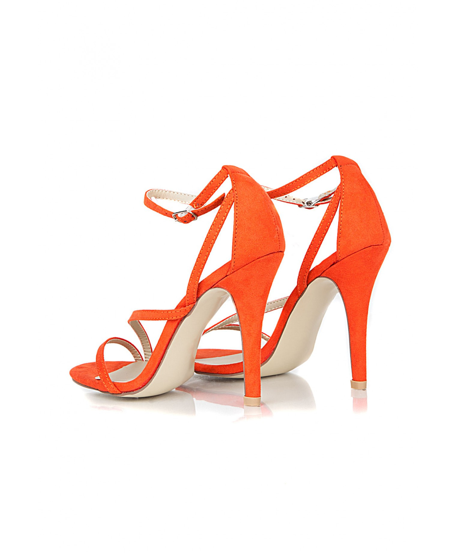 Missguided Nana Faux Suede Strappy Heels in Orange in Orange | Lyst