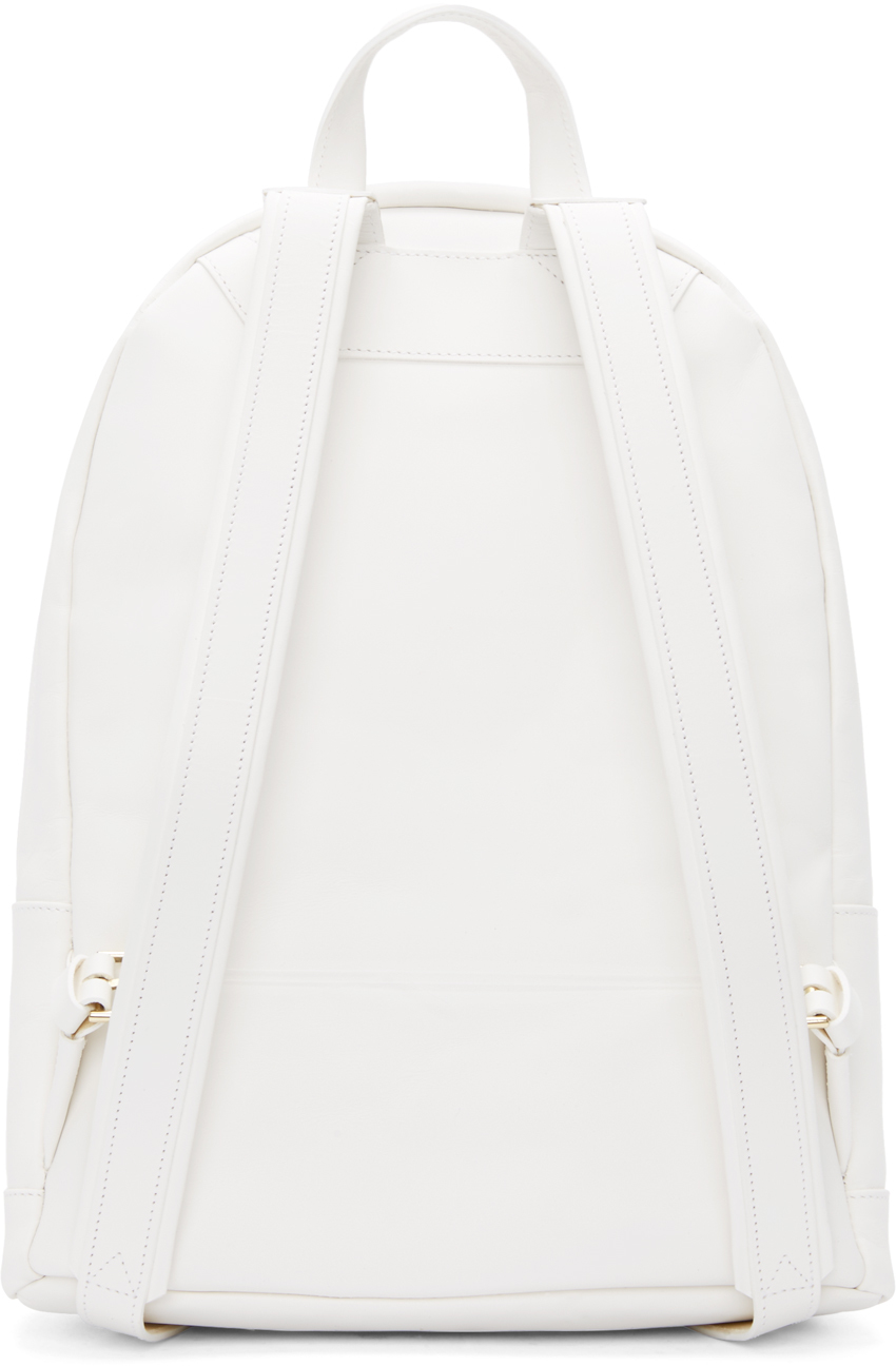 Lyst - PB 0110 Matte White Small Leather Backpack in White 4c21d0270ffb5