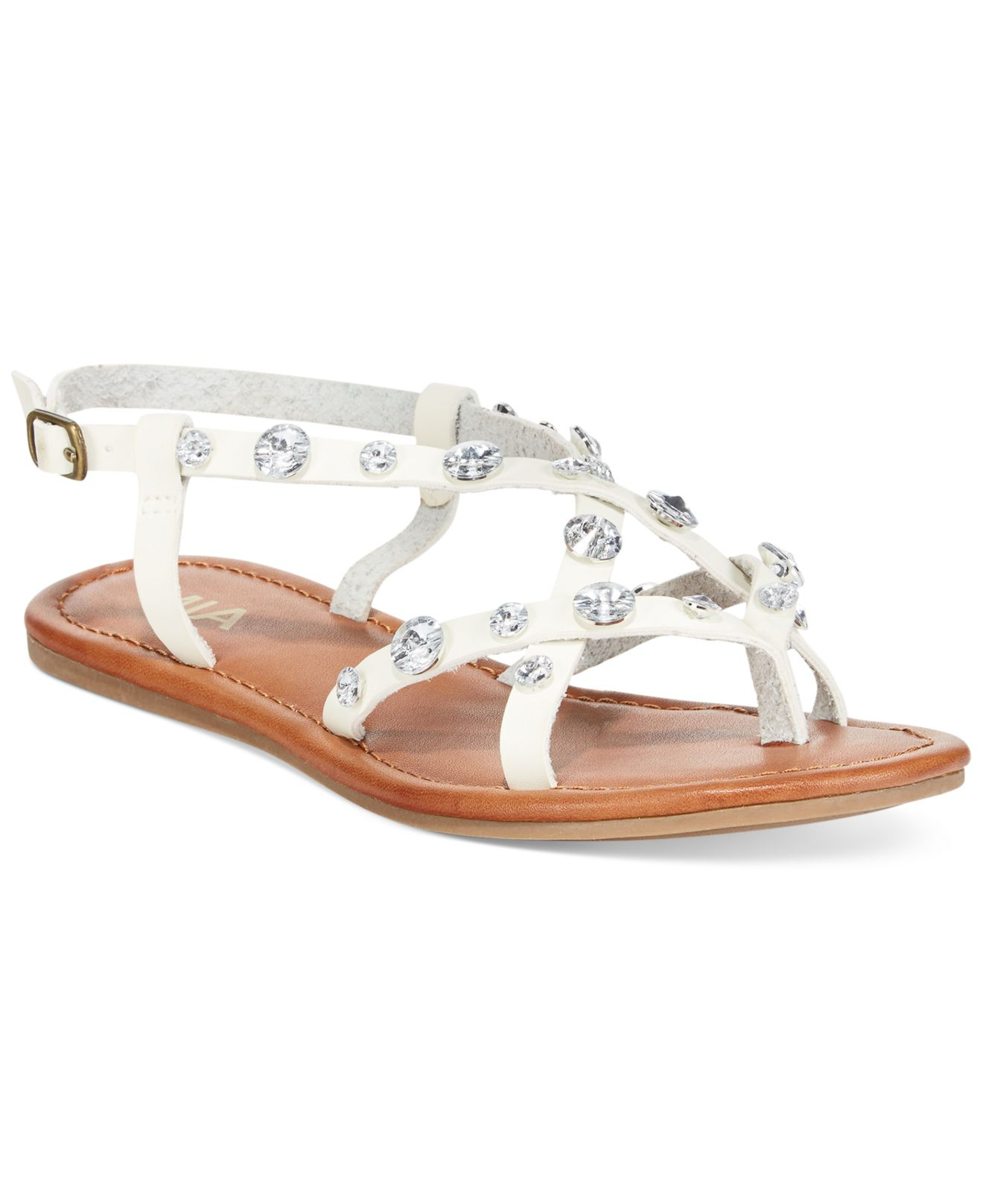 Lyst - Mia Peace Rhinestone Flat Sandals in White