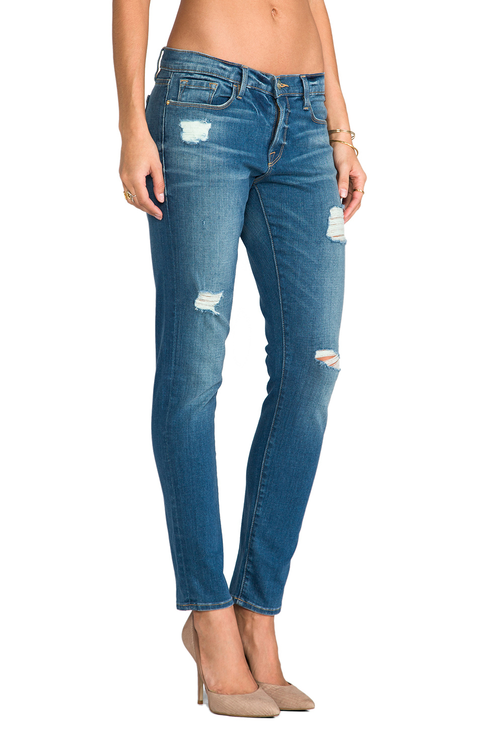 Lyst - Frame Le Garcon Distressed Jean in Blue