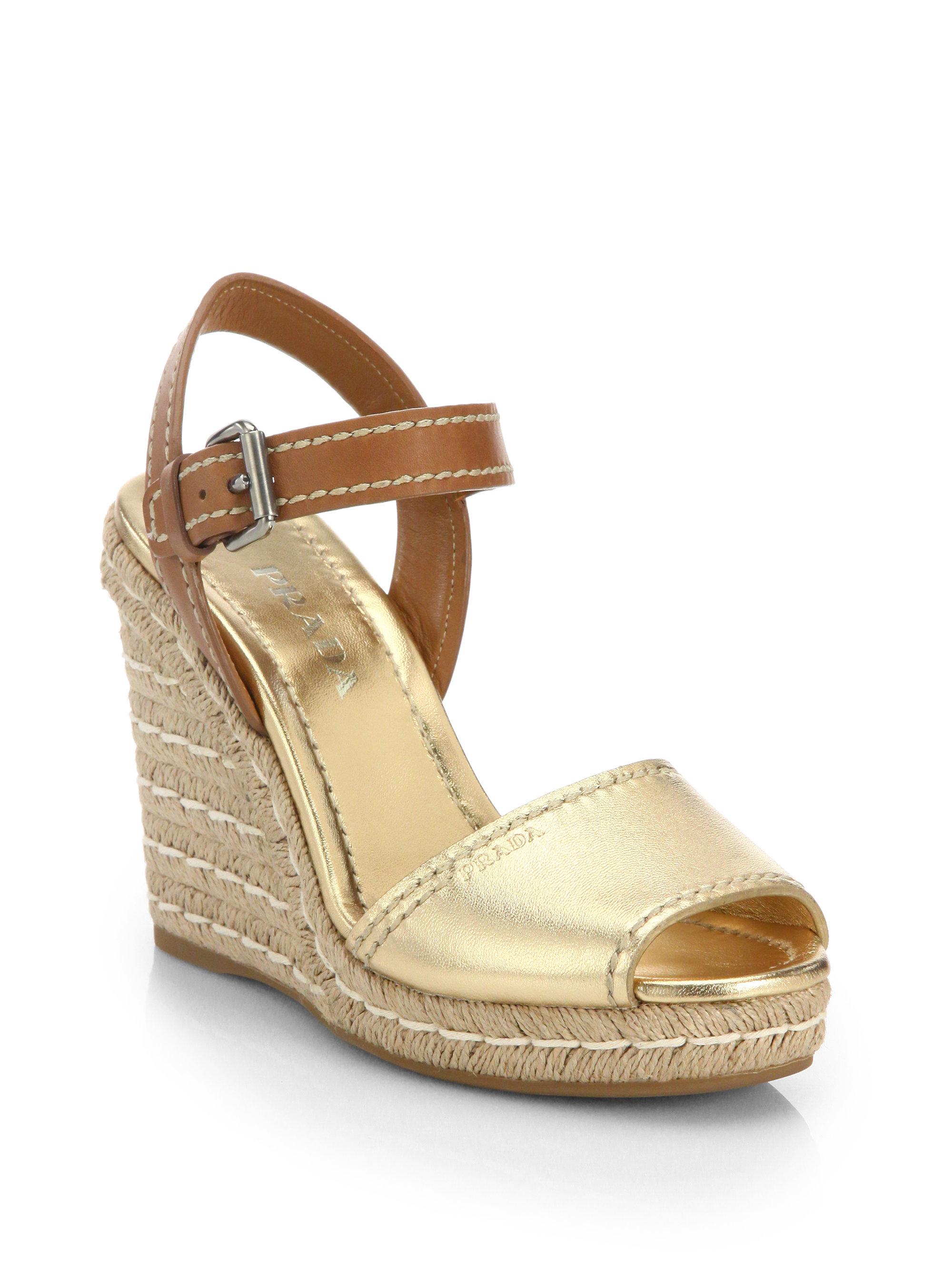 88674b649c4 Prada Natural Leather & Metallic Leather Espadrille Wedge Sandals